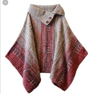 Free People Willow-Diamond-Knit-Poncho-Red-Gray